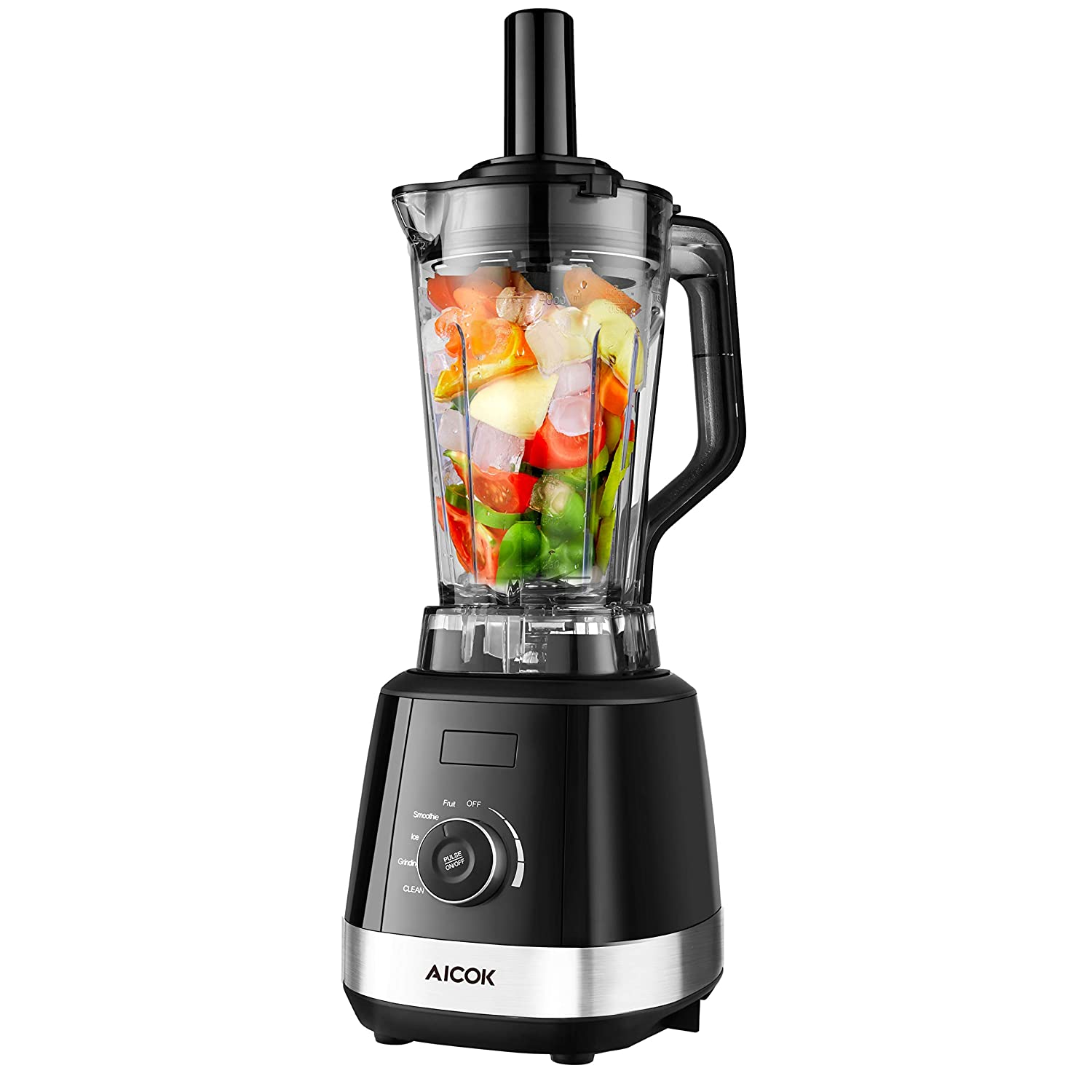 Aicok Blender, 1500W Smoothie Blender with Tamper, High Speed Commercial Blender 32,000 RPM, One Button Rotary Operation with LED Indicator, BPA-Free Tritan Pitcher and Sharp Stainless 6 Blade