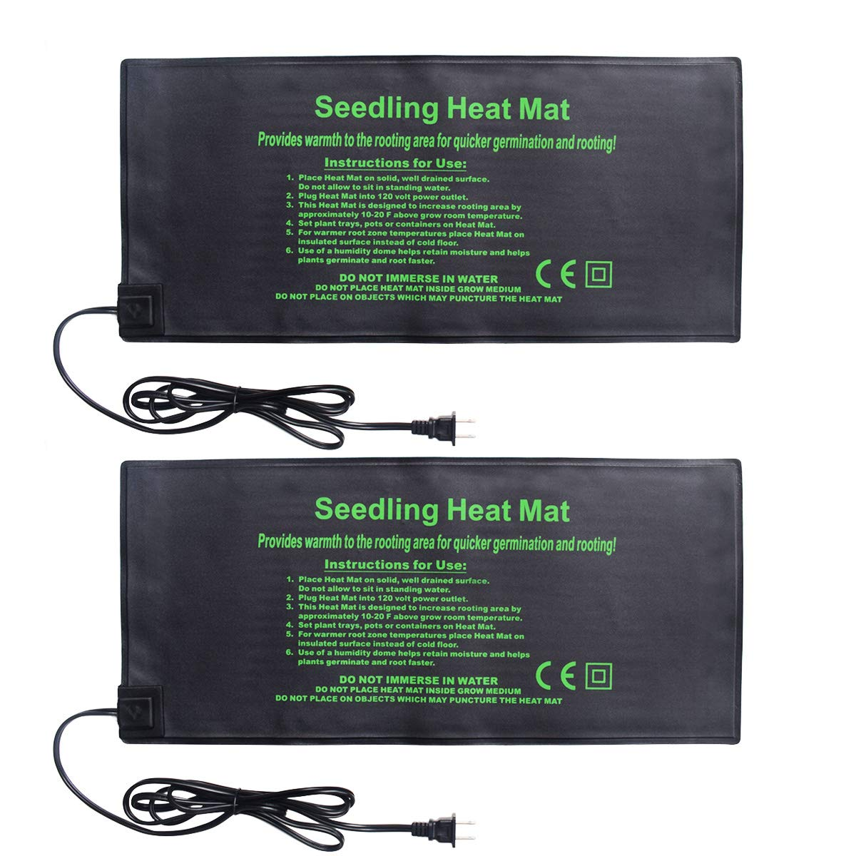 BoHoFarm Seedling Heat Mat 2-Pack Heating Mat Hydroponic Heating Pad Waterproof for Seed Germination Cloning and Plant Propagation (S)