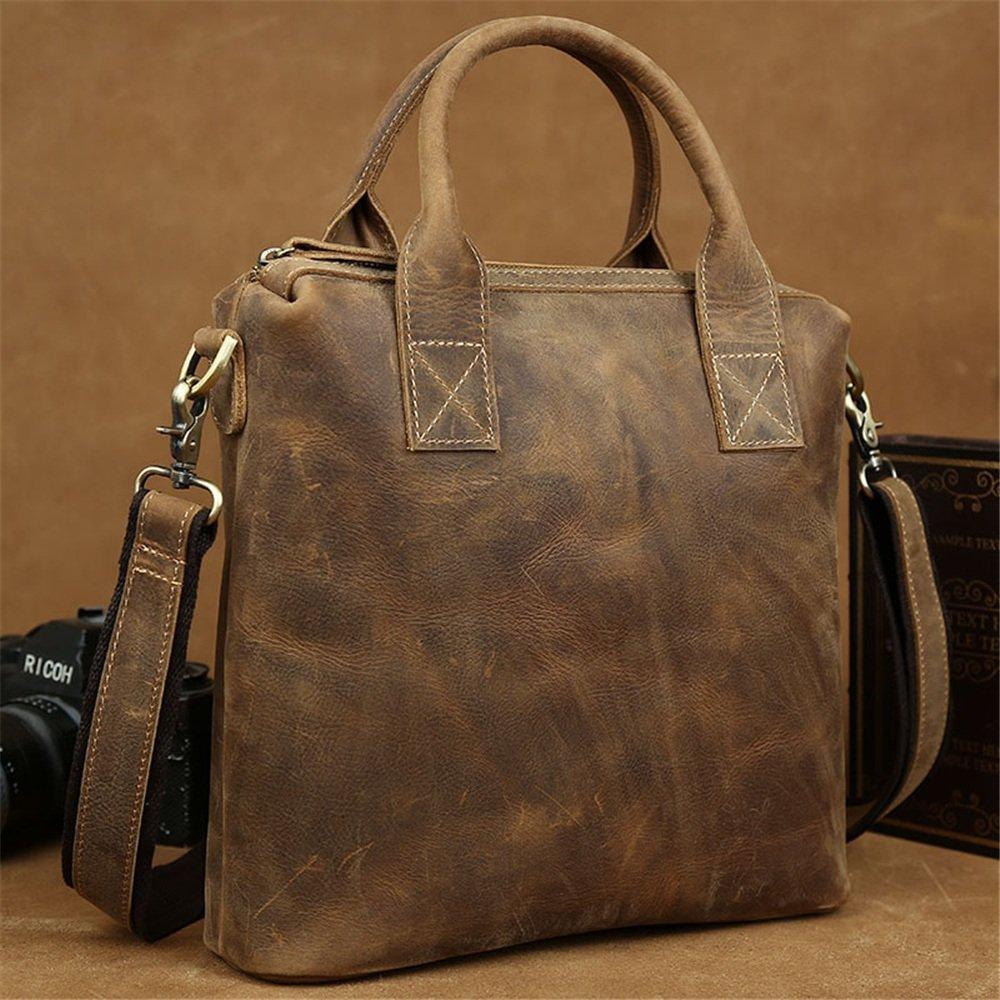 Brown QARYYQ Vintage Elegant Business Tote Briefcase Shoulder Diagonal Package Ipad Bag 30 28 9cm Business Briefcase