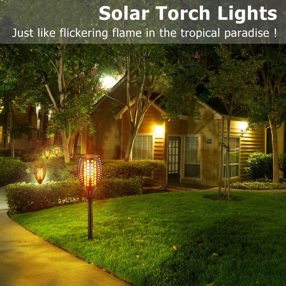4PCS FVTLED/® Solar Garten Licht spotlight Gartenleuchte licht garten beleuchtung soalr spotlight Au/ßen warmlicht Wasserdicht IP65 Solarleuchten 96 LED Bis Dawn Automatische Ein//Aus Licht Sensor