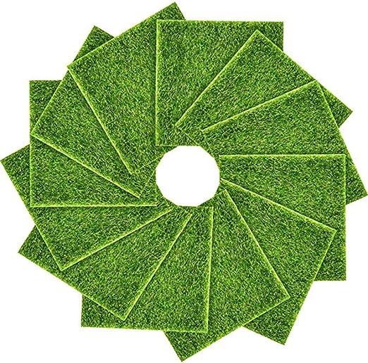 12 paquetes de césped artificial de jardín, 6 x 6 césped artificial de hadas realista jardín de césped artificial jardín de bricolaje césped en miniatura decoración césped ornamento jardín: Amazon.es: Hogar
