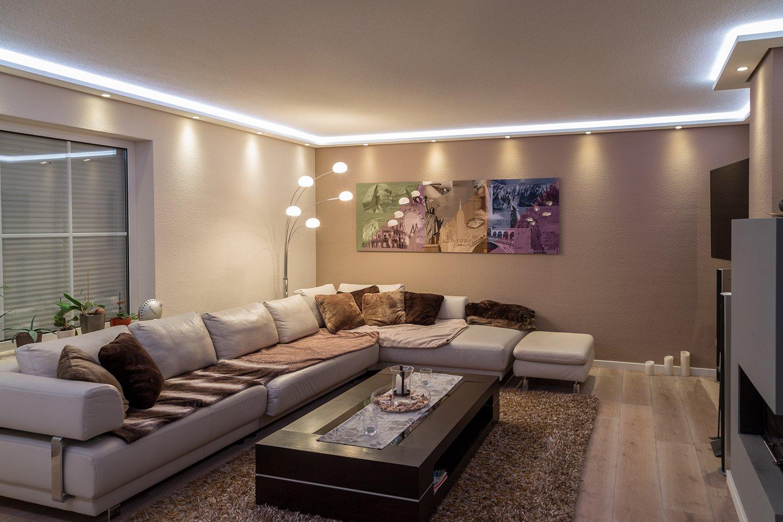 Moderne LED Stuck-Leiste - Licht-Profil für indirekte Beleuchtung von Wand  und Decke aus Hartschaum WDML-200A-ST von BENDU