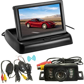 "4.3/"" Folding TFT LCD Rear View Monitor Car Wireless LED Backup Camera PARK Kits"