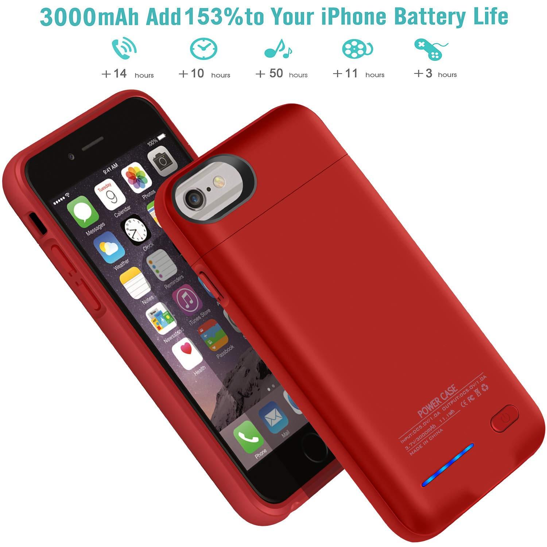 Hyzja Coque de Batterie pour iPhone 7 8 6 6S 3000 mAh magn/étique Rechargeable Bleu