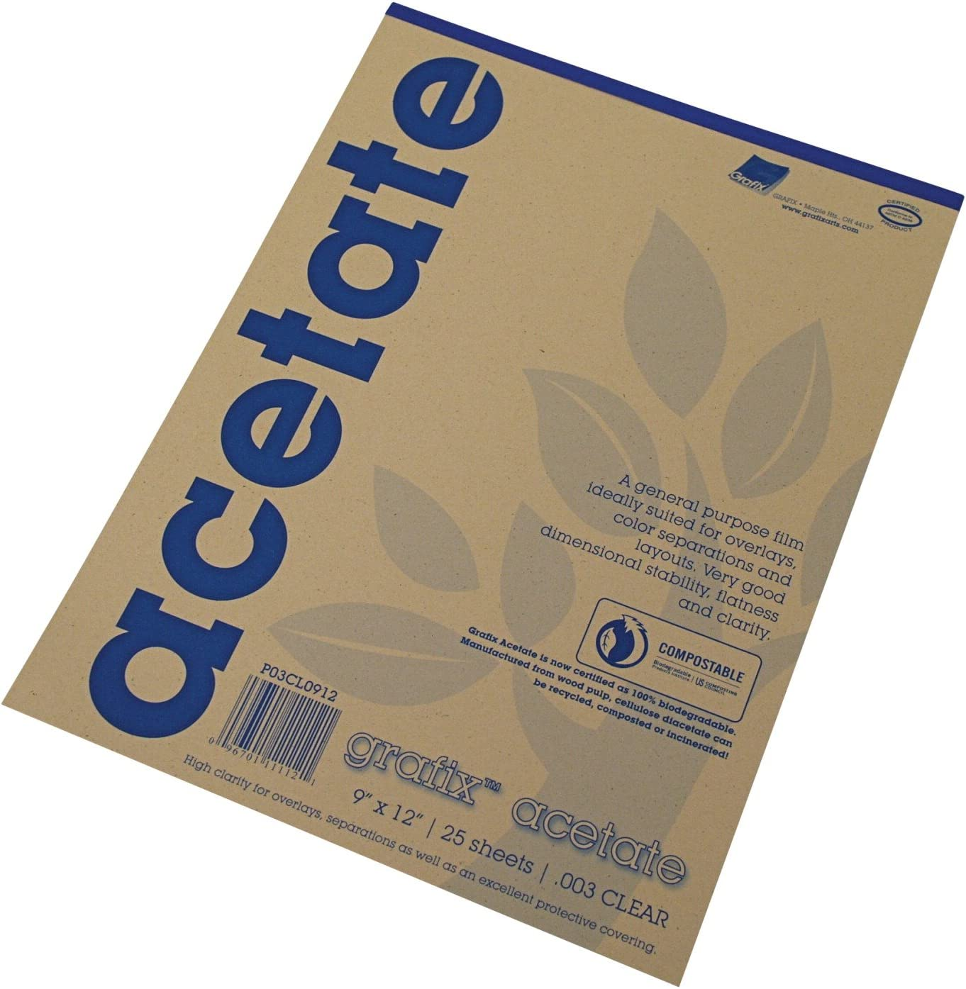 Grafix Acetate Pad, 9 X 12 in, Clear, 25 Sheets/Pad