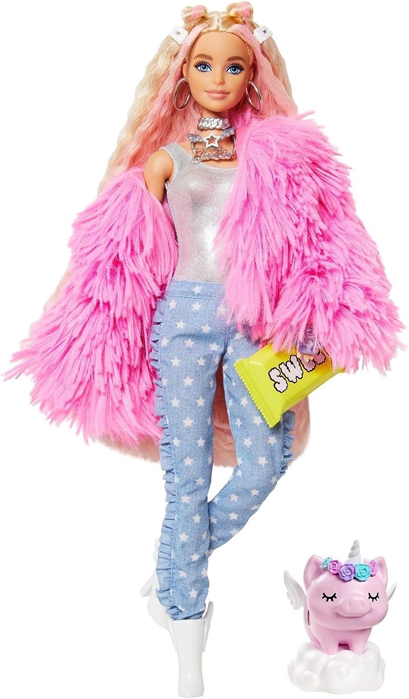 Barbie- Muñeca Extra 3 con un Mullido Abrigo de Peluche Rosa, una Mascota Mezcla de Unicornio y Cerdito (Mattel GRN28)