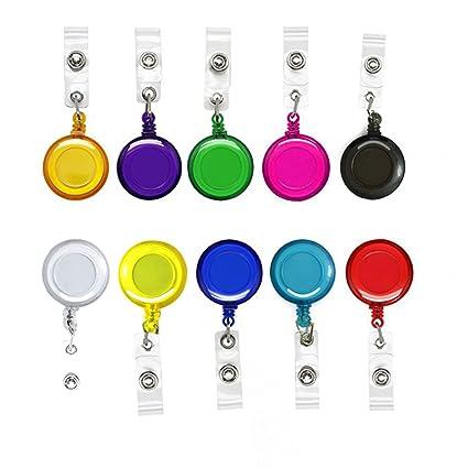 10 piezas Porta tarjetas retráctiles translúcidos Carretes clave Insignias con clip de cinturón para tarjetas de identificación, 10 colores