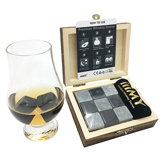 iiiMY Whisky Stones Gift Set of 9 Natural Soapstone and Granite Chilling Rocks with Stylish Wooden Box and Free Velvet Pouch-Best-Popular-Product
