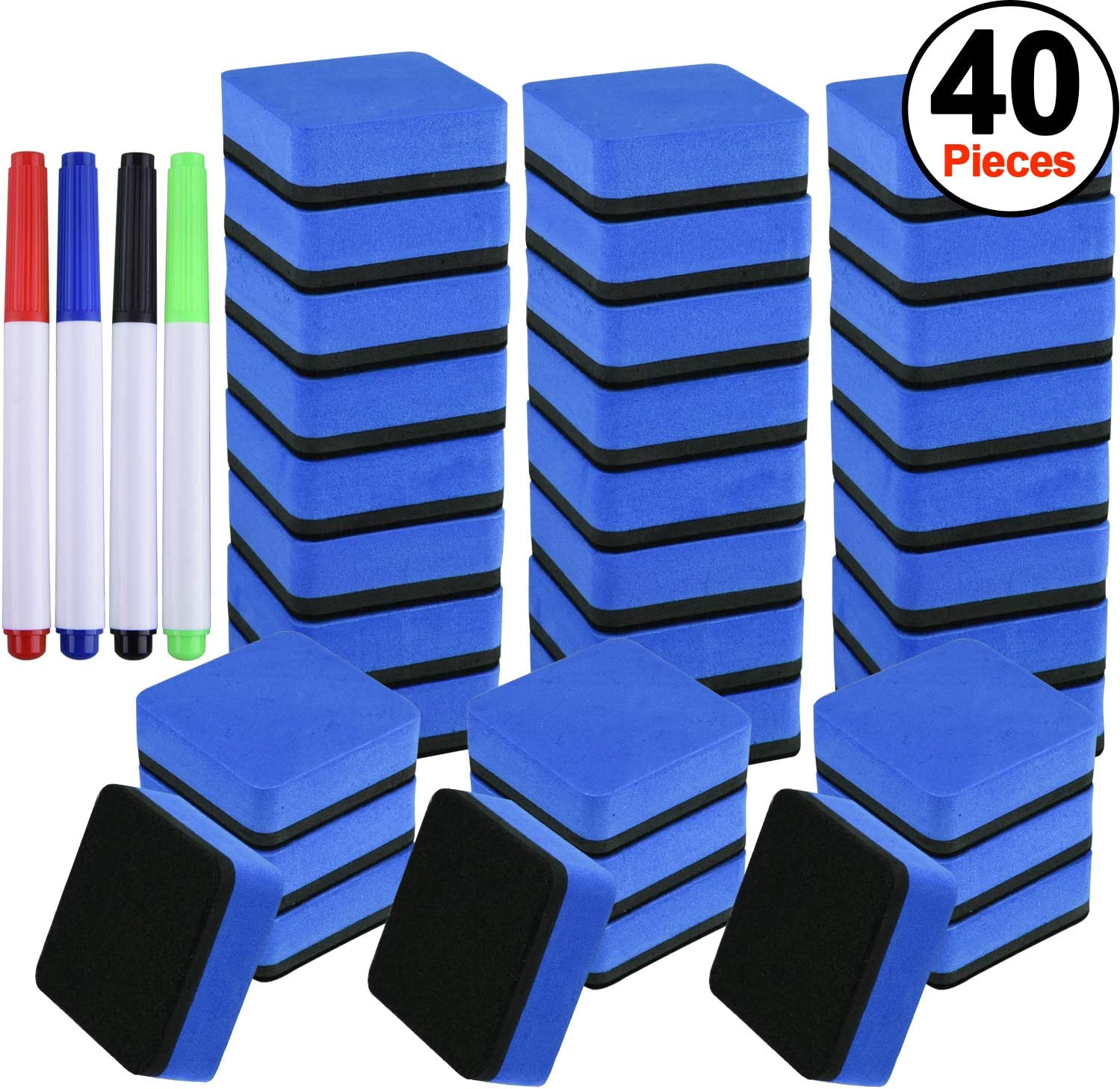SIQUK 36 Packs Dry Erase Eraser Magnetic Whiteboard Eraser Blue Chalkboard Cleansers Wiper(1.97 x 1.97 Inches) with 4 Pieces Whiteboard Markers