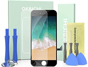 OKBICHI Screen for iPhone 7 4.7 Inch, LCD Display Screen Replacement for iPhone 7 Black Front Touch Panel Digitizer Assembly with Protector and Repair Tools