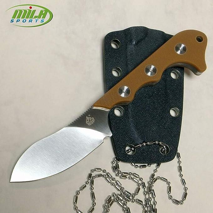 Kydex-Scheide QSP Neckmuk Neck Knife FullTang Klinge aus D2 G10 Griff Kette