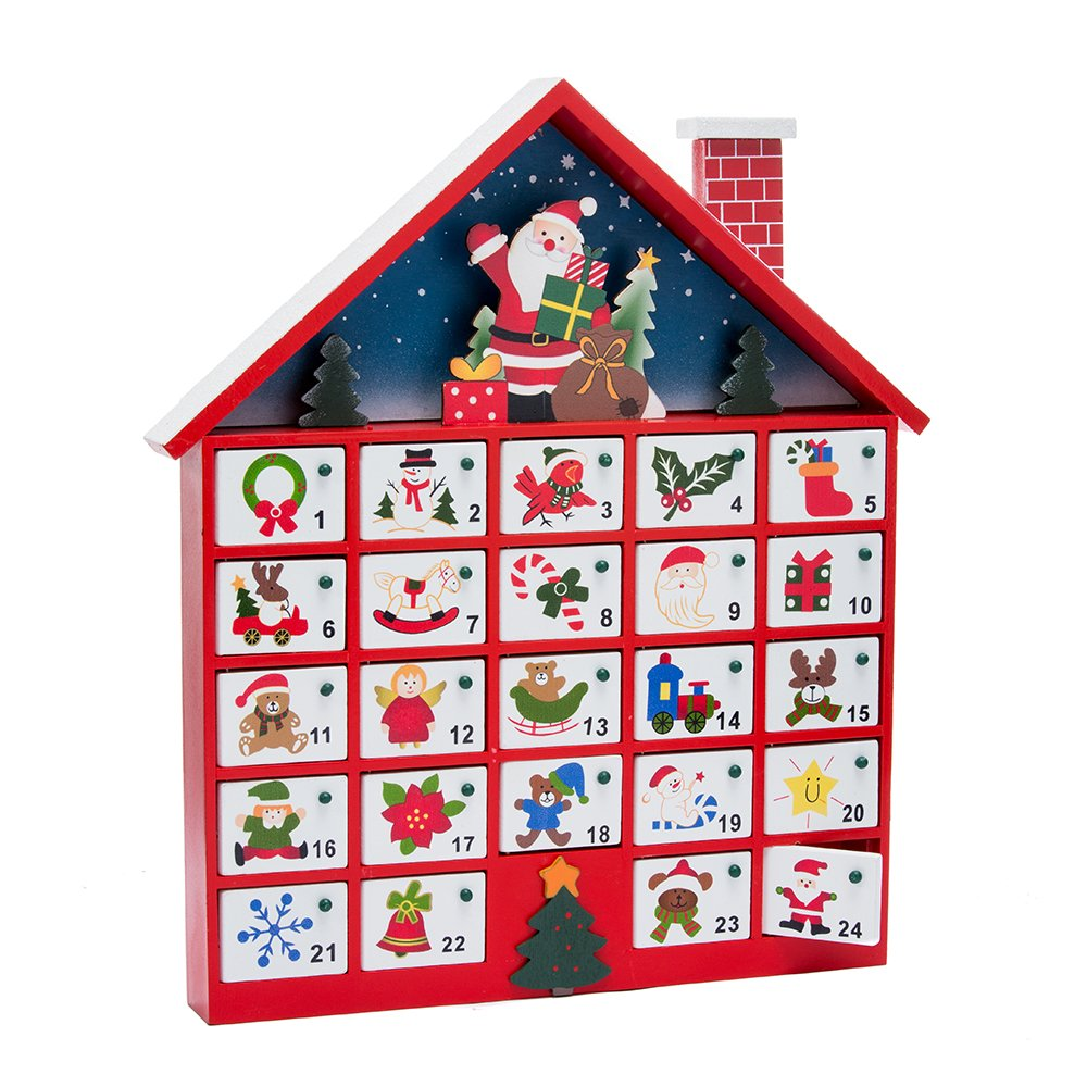 Kurt Adler C6300 Wooden Santa House Advent Calendar W/O Ornaments, 16-Inch