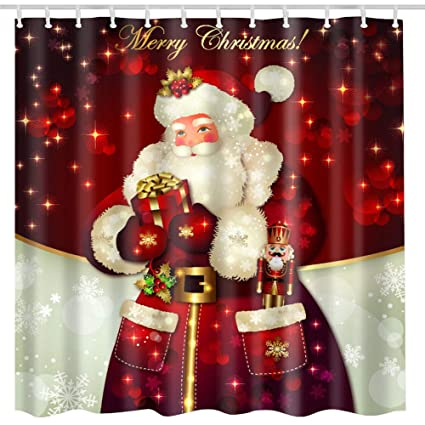 BROSHAN Christmas Shower Curtain Sets Merry Dreamlike Winter Santa Claus Holding Presents Polyester Fabric