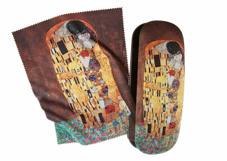 Funda de gafas, diseño de con gamuza de limpieza, tema: El Beso de Klimt, funda para gafas