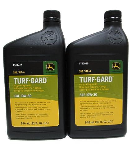 John Deere Turf Gard SAE 10W 30 Oil TWO Quarts TY22029