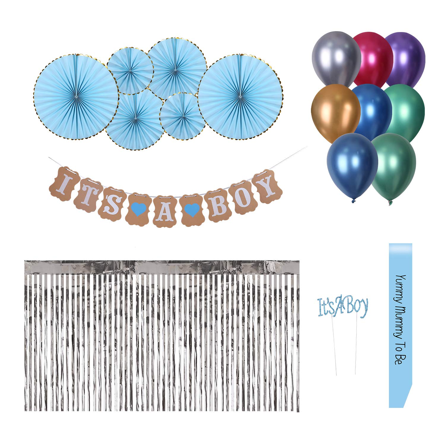 Baby Shower Boy Decoracion.Baby Shower Decorations For Boy Boys Party Supplies Favors Banner Balloon Nautical Blue Gold Silver Babyshower Decor Sash Table Skirt Cake Topper Bebe
