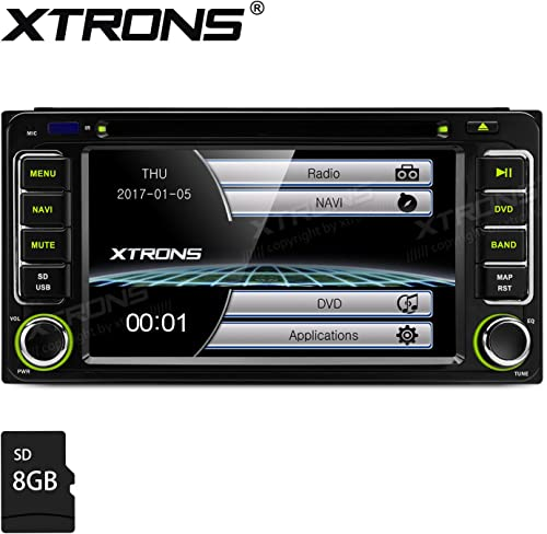 XTRONS 6.2 HD Digital Touch Screen GPS Navigation Car Stereo Radio DVD Player with Screen Mirroring Function for Toyota Kudos Map Card Included