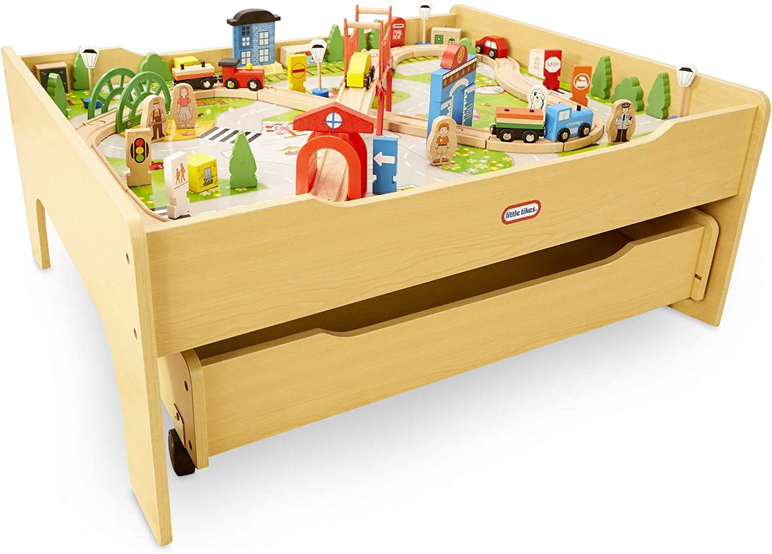 Little Tikes Real Wooden Train Table Set for Kids