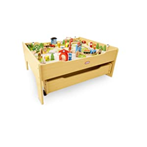 Little Tikes Real Wooden Train Table Set for Kids, Deluxe Over 80Piece Hand Painted Wooden Set with Tracks, Trains & Accessories