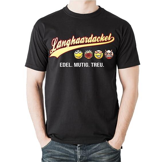 Siviwonder Unisex T-Shirt LANGHAARDACKEL - OLD SCHOOL SCHRIFT Hunde:  Amazon.de: Bekleidung