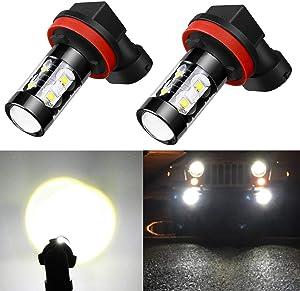 Alla Lighting H8 H11 LED Fog Light Bulbs Super Bright H8 H16 H11 LED Bulb High Power 50W 12V LED H11 Bulb for H16 H8 H11 Fog Light Bulbs Replacement, 6000K Xenon White (Set of 2)