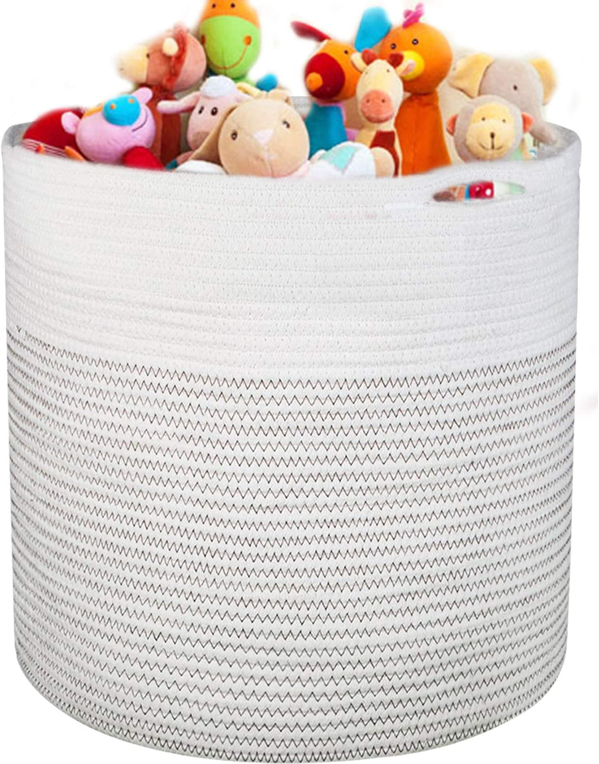"homyfort Kids Large Toy Chest Storage Organizer,Collapsible Thread Cotton Rope Nursery Laundry Container Basket, Towels,Dirty Clothes-17"" X 16.5"""