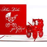 """Pop-Up Karte """"Kinderwagen - Alles Liebe zur Geburt"""" Rot - Glückwunschkarte zur Geburt, Baby Karte, Pop Up Karten, 3D Karte, Geburtskarte"""