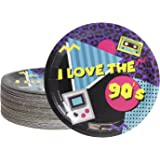 Paper Plates for 90s Party Supplies for Birthdays (9 Inches, 80 Count)