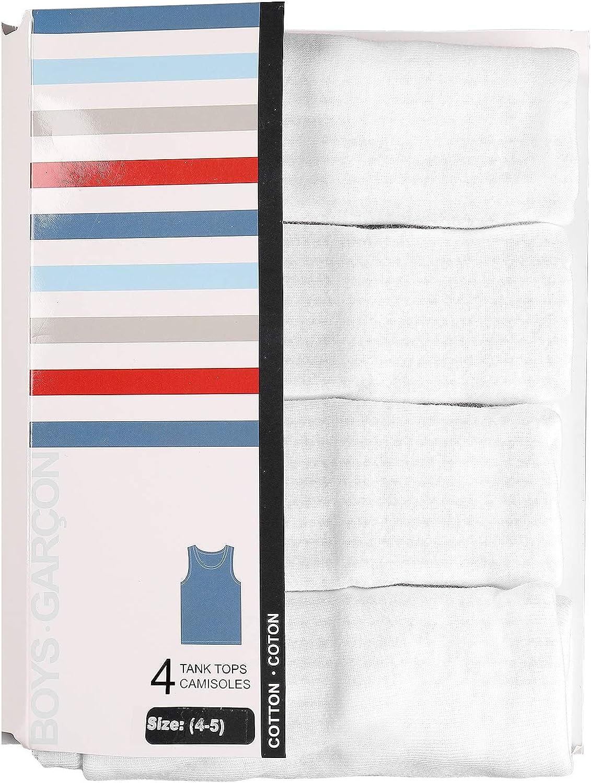 4 Pack Buyless Fashion Boys Soft 100/% Cotton White Scoop Neck Undershirt Vest