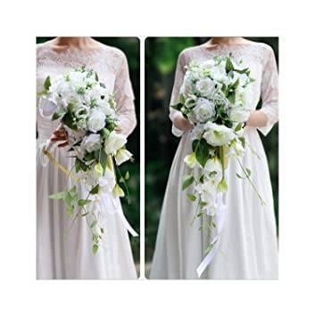 Amazon Com White Cascading Bridal Bouquets Roses Orchid