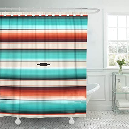 Image Unavailable Not Available For Color Emvency Shower Curtain Turquoise Orange Navajo White