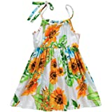 7c6f37156dc19 ADESHOP Mode Fille Robe BéBé Filles sans Manches Flower Rayures Impression  Sling Dress VêTements Filles ÉLéGant