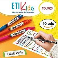 ETIKids 40 Étiquettes adhésives laminées personnalisables polyvalentes (color) pour la garderie et l'école
