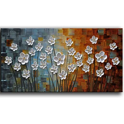 Yasheng Art  Hand Painted Contemporary Art Oil Painting On Canvas White Flowers Abstract