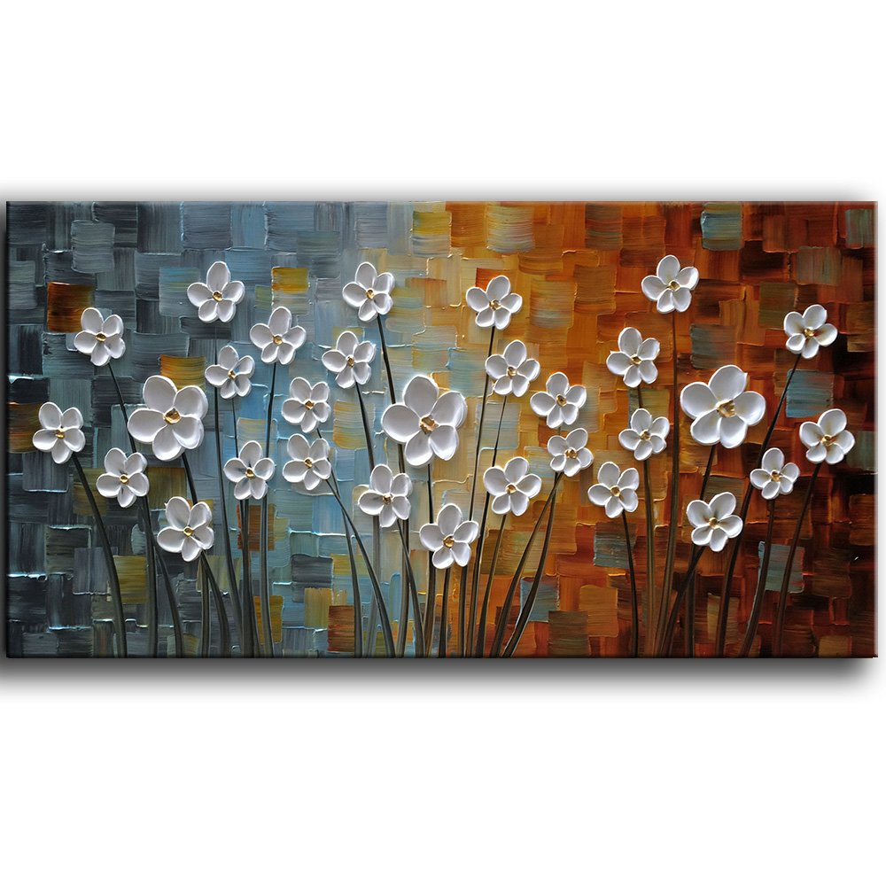 YaSheng Art - 100% Hand painted Contemporary Art Oil painting On Canvas white Flowers Abstract Paintings Modern Home Decor Wall Art for living room Bedroom Framed Ready to Hang 20x40inch