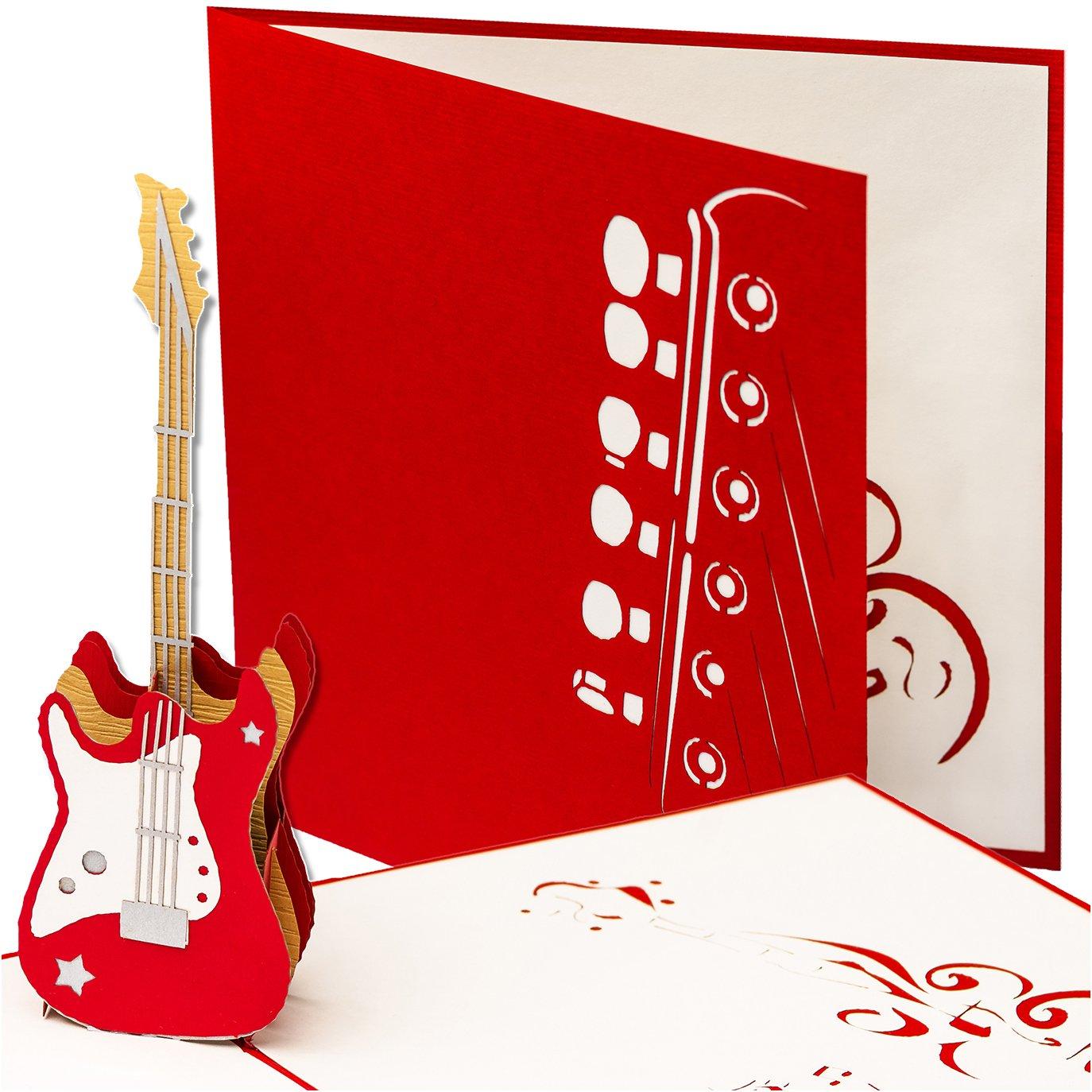 Biglietto di auguri conChitarra elettrica, 3D pop up, fatto a mano, in stile musicale, per compleanno, come buono per chitarra primetea