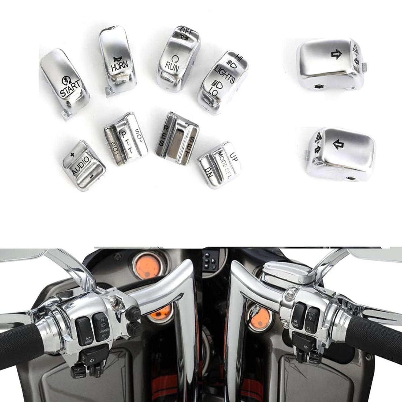 Motorcycle Chrome 10 PCS Radio Cruise Control Switch Cap Kits For Harley-Davidson 1996-2013 1997 1998 1999 2000 2001 2002 2003 2004 2005 2006 2007 2008 2009 2010 2011 2012 Beautyexpectly