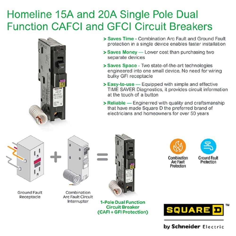 Ground Fault Circuit Interrupter Outlets Amazoncom Industrial Square D By Schneider Electric Hom120dfc Homeline 20 Amp Single Pole Dual Function Breaker 1 Inch Format