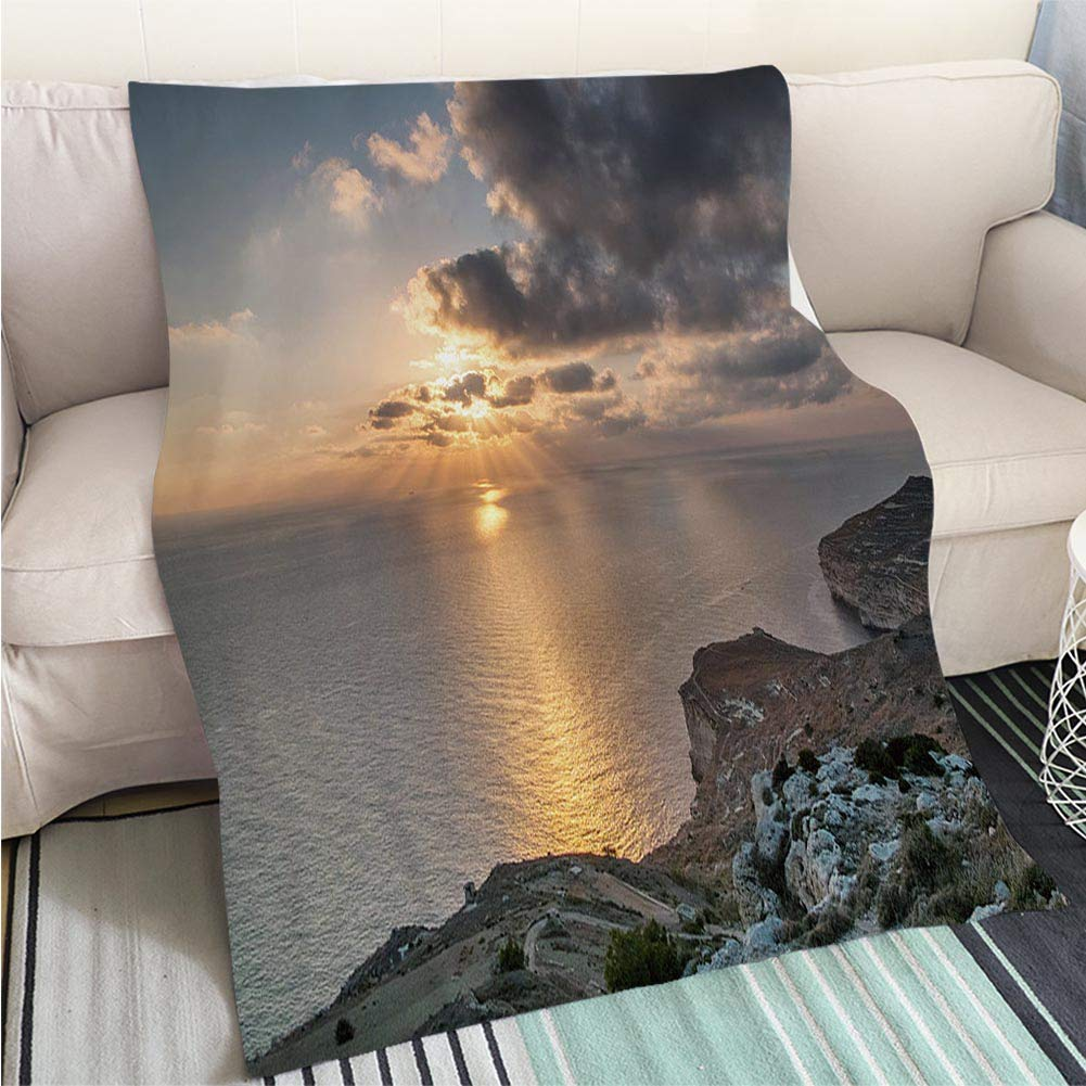 color12 39 x 59in Creative Flannel Printed Blanket for Warm Bedroom Sunset in Mountains Perfect for Couch Sofa or Bed Cool Quilt