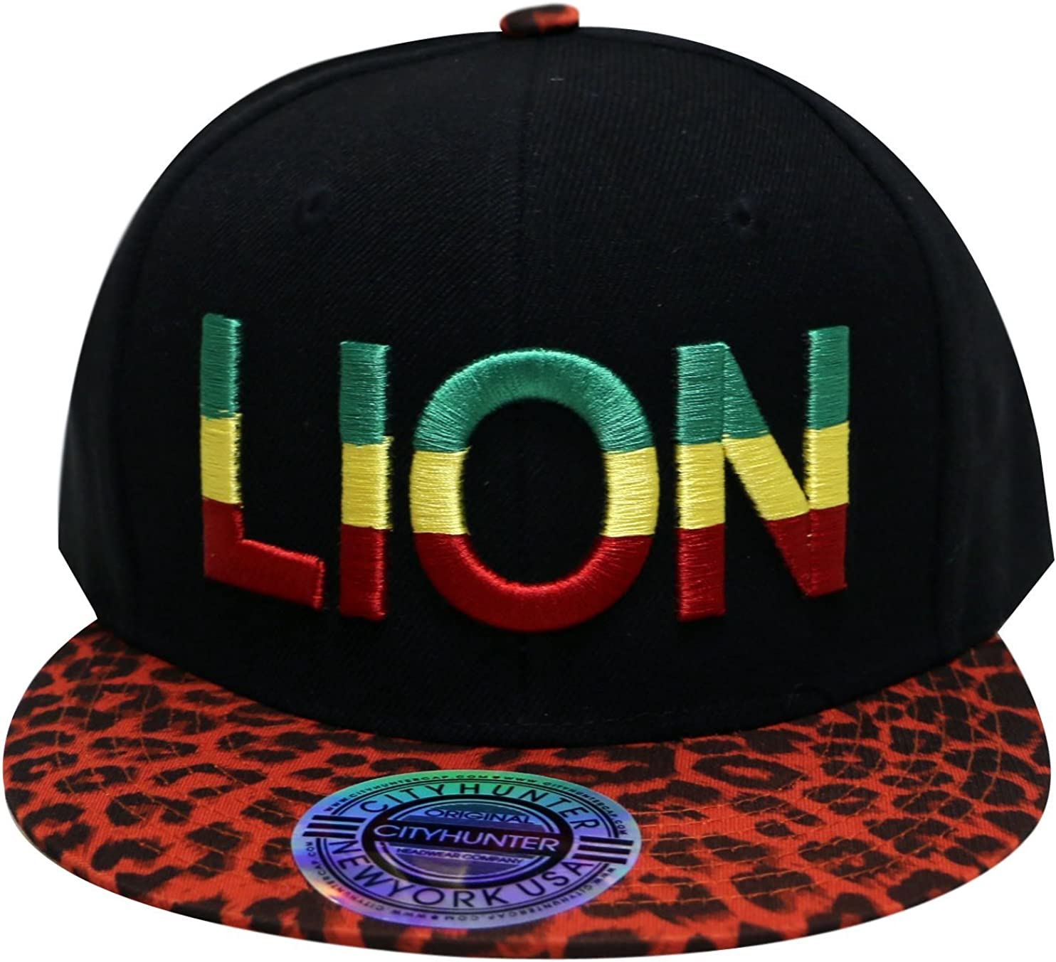City Hunter Rasta Bear Animal Design Snapback Hat Cap