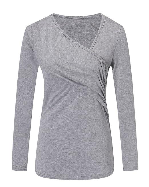 Mujer Top Blusa Camiseta Elegante Mangas Largas Moda Escote V Cruzado Gris EU 40
