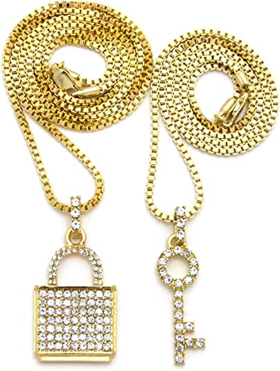 """Men/'s Gold Toned Full Iced Out 24/"""" Flower Chain /& 22/"""" Tennis Chain Necklace Set"""