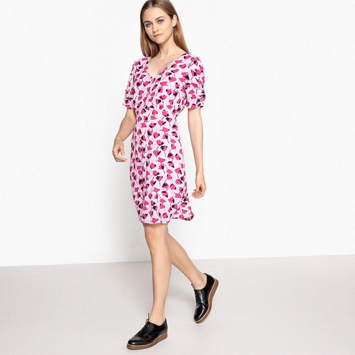 La Redoute Collections - Mujer Vestido Minifalda, diseño de Flores Fantasia Fondo Rosa 46: Amazon.es: Ropa y accesorios
