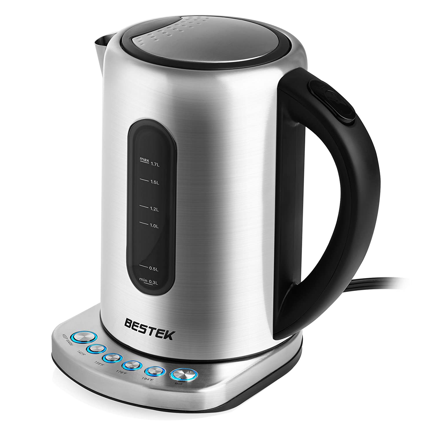 BESTEK Digital Electric Kettle 1.7L Stainless Steel Water Boiler Fast Boiling Tea Kettle with Built-in Precision Temperature Control Panel Base, Auto Shut Off, Boil Dry Protection and Keep Warm