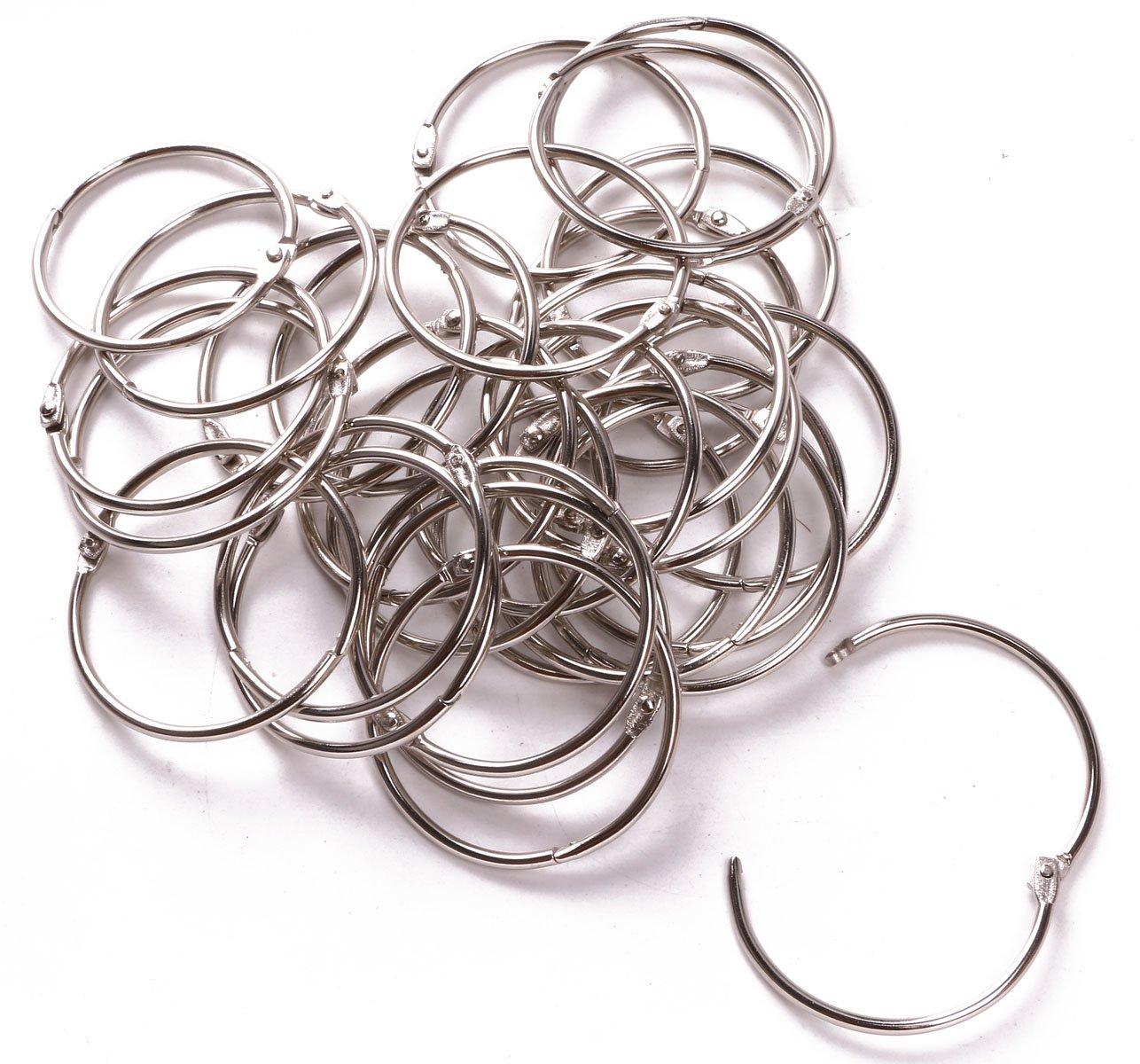 Shapenty 2 Inch/50mm Large Metal Scrapbooking Book Loose Leaf Binder Ring Clip Bulk Key Chain Ring Holder for Photo Paper Card Organization, 30PCS