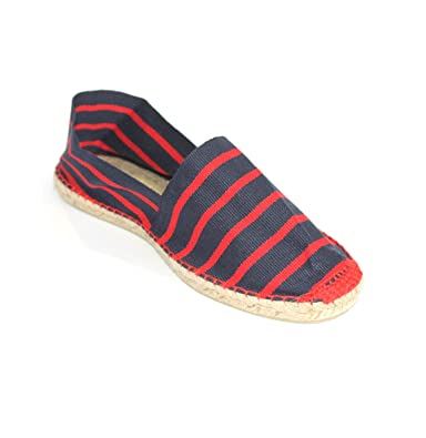 2c5483894 weltenmann Classic Men Cotton Slip-on Espadrilles, Stripes Blue/red 41