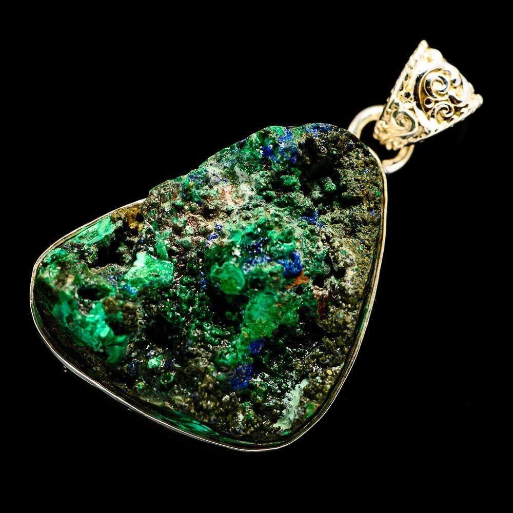 - Handmade Jewelry Ana Silver Co Rough Azurite In Malachite Pendant 1 3//4 Vintage PD701093 925 Sterling Silver Bohemian
