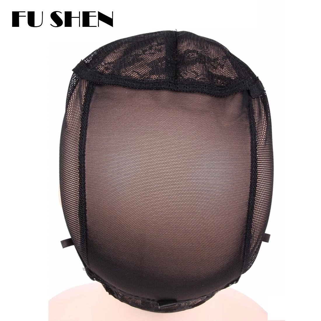 Elastic Wig Caps For Making Wigs Stretch Lace Weaving Cap Extra Large For Big Head with Adjustable Straps and Combs (Black 1 Piece XL-23Inch) by FU SHEN (Image #4)