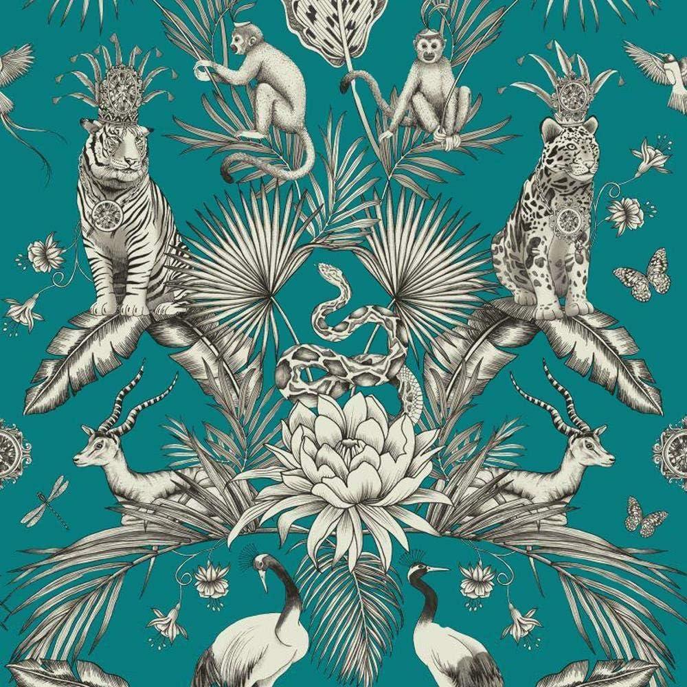 Tropical Parrot Birds Wallpaper Animal Print Floral Leaves Jungle Black Rasch