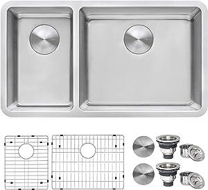 Ruvati 32-inch Undermount Kitchen Sink 30/70 Double Bowl 16 Gauge Stainless Steel - RVM5307